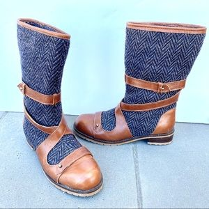 Anthropologie Boots Tweed brown Leather anthro 6